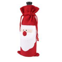 Lindo-divertido-de-Navidad-botella-de-vino-de-la-confeccion-de-Santa-Claus-cubierta-Vestido-Topper