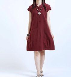 Women Summer Dress Loose Dress Large Size Dress Cotton Linen Dress