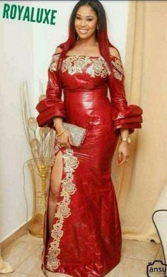 love the way sleeves balloon at the wrists! Powerful dress yet very elegant! African Lace Dresses, Latest African Fashion Dresses, African Dresses For Women, African Print Fashion, Africa Fashion, African Attire, African Wear, African Women, Style Africain