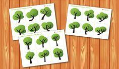 """Карточки - похожие картинки """"Деревья"""". Развитие фотографической памяти. Раннее развитие. Шичида."""