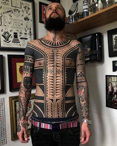 30 Coolest Tribal Tattoos For Men Tribal Back Tattoos, Tattoos Skull, Body Art Tattoos, Black Line Tattoo, Black Tattoos, Neck Tattoo For Guys, Tattoos For Guys, Design Dragon, Shiva Tattoo Design