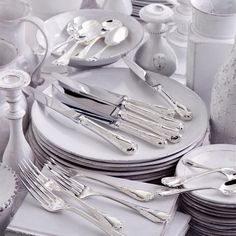Beautiful Marly Christofle silver flatware and white ironstone