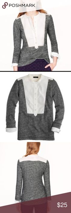 J.Crew Tuxedo Bib Tunic Gray White You don't have to feel totally guilty wearing your sweats to work on Monday—a piqué tuxedo bib and faux cuffs add an extra bit of polish to this comfy terry tunic.  Cotton. Machine wash. J. Crew Tops Tunics
