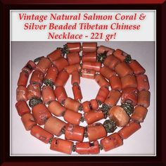 "VTG Salmon Coral & Silver Tibetan Chinese Necklace Vintage Natural Salmon Coral & Silver Beaded Tibetan Chinese Necklace - 221 gr. or 7.8 oz! Features 53 old genuine, natural & un-dyed salmon coral barrel beads & silver beads. They range fr 10mm x 9mm to 15mm x 15mm in size, hangs 20"" long, 41"" end to end flat with a sterling clasp. Coral beads alone weigh approx. 6.7oz or 189.94 grams. Tested to be natural, un-dyed coral with acetone test. The necklace was restrung with new Sterling clasp…"