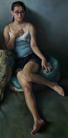 Chen Ke-Ping (Chinese, b. 1952) oil on canvas {figurative art female eyeglasses seated asian woman legs cropped painting} #Chen_Keping