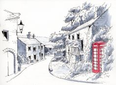Middlesmoor a remote small hill village at the head of Nidderdale in the Yorkshire Dales ~ sketch ~ John Edwards Watercolor Sketch, Watercolor Landscape, Watercolor Paintings, Watercolours, Ink Pen Drawings, Drawing Sketches, Landscape Drawings, Landscape Paintings, Pen And Wash