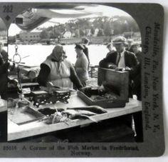 Norway A Corner of The Fish Market in Fredrikstad 282 Stereoview | eBay