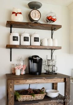 I want a coffee, tea, various drink station like this someday.