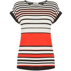 Oasis Bretton Stripe T-Shirt, Multi/Orange (£18) ❤ liked on Polyvore featuring tops, t-shirts, white tee, white round neck t shirt, white top, round neck t shirt and oasis t shirt