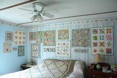 Love love love Little Quilts hung together on a wall... from Why Not Sew blog.