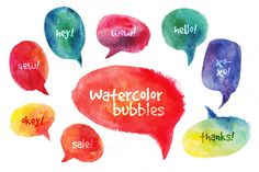 Free download this week. These could be cute for social media buttons. Check out Vector Watercolor Speach Bubbles by Elena Pimonova on Creative Market