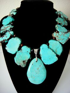 Large Slab Turquoise Necklace with Pendant. This style can be found in both real turquoise and blue dyed magnesite slabs.