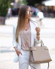 """Mesi Szigeti az Instagramon: """"Closer look at yesterday's #outfit details👇🏻 @fancyfashion_pl white blazer and pants @edan1edan1 top @camelia_roma leather…"""" Camelia Roma, Yves Saint Laurent, Cool Style, My Style, Hermes Kelly, What To Wear, Womens Fashion, Fashion Trends, Street Style"""