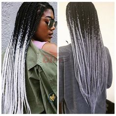 66.60$ Watch now - http://alitw6.worldwells.pw/go.php?t=32783551449 - Braiding Box Crochet Braids Synthetic Lace Front Wigs Kinky Twist Braiding Wigs Ombre Black To Grey Twist Braiding Synthetic Wig