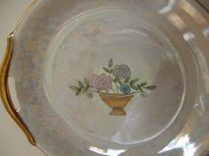 Vintage Antique Lusterware Dish with flower basket motif by lookonmytreasures on Etsy