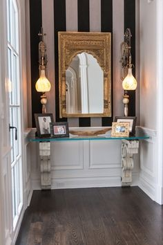Traditional Entryway with Wainscotting, Island height corbel, interior wallpaper, Toltec lighting elegante mini pendant