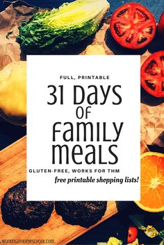 31 Days of family meals/recipe that work for THM! Trim Healthy Mama, gluten-free, and includes free printable shopping lists - great resource/guide! Trim Healthy Recipes, Healthy Menu, Thm Recipes, Healthy Fats, Skinny Recipes, Dinner Recipes, Trim Healthy Mama Book, Planning Menu, Large Family Meals
