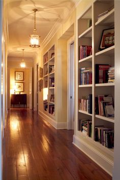 (Built-ins in the hall!) Southern Comfort –This Brentwood, Tennessee Home is Warm, Inviting and Filled With Old World Charm Decor, House Design, House, Home, Home Libraries, Cozy House, House Styles, New Homes, House Interior