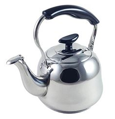Alpine Cuisine Polished Stainless Steel Stovetop Tea Kettle, Gas/Electric/Induction compatible  http://www.amazon.com Harmonic whistle in the lid w/side resting cool-touch handle; perfect for making two cups