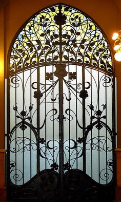 Art Nouveau Stained Glass Doors - Barcelona, Spain