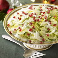 Cucumber-Pomegranate Salad - we omit the fennel, because we don't like the flavor of licorice. This a must have for Christmas Eve Dinner.