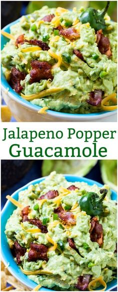 Jalapeno Popper Guacamole is so creamy and spicy with bits of bacon. via @FMSCLiving