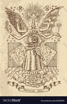 Mystic Or Occult Drawing Of Spiritual Symbols, Goddess Of Wisdom And Eternity, Vignette Banner And Constellations On Texture Backg Stock Vector - Illustration of paper, line: 97586209 Alchemy Symbols, Spiritual Symbols, Esoteric Art, Art Vintage, Arte Obscura, Occult Art, Mystique, Witch Art, Psychedelic Art