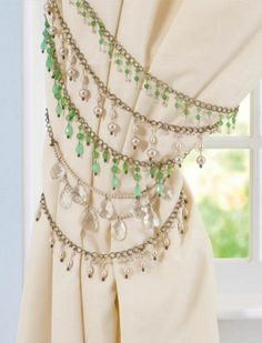 Make fun Jeweled Curtain Tiebacks for your home decor with pretty beads from joa Beaded Curtains, Diy Curtains, Window Curtains, Curtain Ties, Curtain Tie Backs Diy, Curtain Holder, Beautiful Curtains, Moroccan Bedroom, Bling