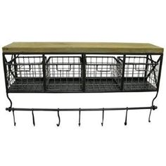 Metal & Wood Shelf with Baskets & 7 Hooks review | buy, shop with friends, sale | Kaboodle