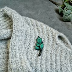 Hand embroidered turquoise branch brooch  Original textile jewelry  Green branch jewelry / Handmade brooch  etsy.com/shop/OhKatesCrafts