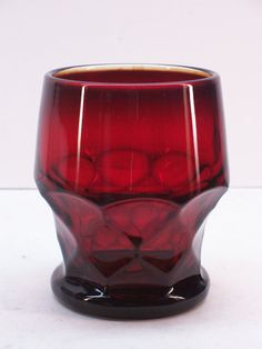 Vintage Viking Glass GEORGIAN Royal Ruby Red 9 oz. Flat Tumbler   by GarageSaleGlass, $8.88