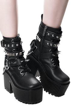 ☠️ Alice studded Boots ☠️ Shoes sizes from 35 to Alice studded Boots ☠️ Shoes sizes from 35 to 39 ONLY BLACK For more information DM☠️ Emo Shoes, Cute Shoes, Me Too Shoes, Goth Boots, Gothic Shoes, Aesthetic Shoes, Studded Boots, Doc Martens, Grunge Outfits
