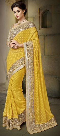 176516 Yellow color family Embroidered Sarees, Party Wear Sarees in Brasso, Faux Georgette fabric with Lace, Machine Embroidery, Thread work with matching unstitched blouse.