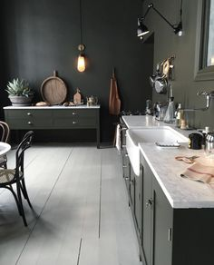 Kitchen Interior Design Green Kitchen ❤️ - Social media, of any kind, these days is tough. The number of times you are assaulted with headlines you only thought you'd read in The Onion has quadrupled, and I sense it's really taking a toll on a New Kitchen, Kitchen Dining, Kitchen Decor, Dark Green Kitchen, Awesome Kitchen, Kitchen Styling, Olive Kitchen, Kitchen Cabinets, Kitchen Walls