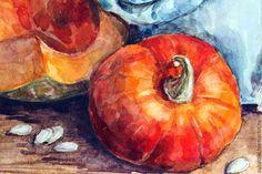 Купить Натюрморт с тыквой. Акварель. - оранжевый, тыква, тыквы, тыквенные скмечки, тыквенный, натюрморт с фруктами