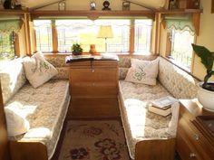 Vintage Camper Interiors | vintage travel trailer interior -- love the windows.... ... | Back Ro ...