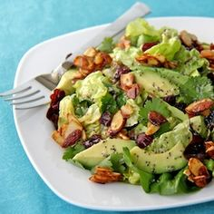 Summer Salads - Cranberry-Avocado Salad w/ Candied Almonds & Sweet White Balsamic Vinaigrette: