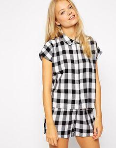 ASOS Clean Boxy Check Pyjama Shirt