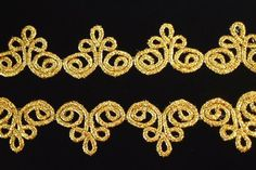 Gold, metallic mylar lace trim (Pointe de Venise), each segment is approx: 2 x 1 offered in 4 yard increments. Hand Work Embroidery, Gold Embroidery, Embroidery Fashion, Embroidery Designs, Motif Soutache, Lace Tape, Motif Vintage, Cross Stitch Rose, Point Lace