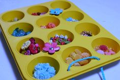 how to organize jewelry crafting - use a muffin tin for an organized craft room!