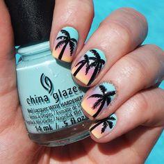 Palm tree nails. @nailsbycambria