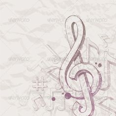 Vector hand drawn treble clef and notes