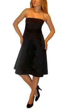 Valentino Red black satin strapless dress  http://shop.boutiqueon57.com/products/valentino-black-dress size 6 $199