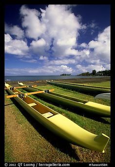 Outtrigger canoes on beach   II   Hilo. Big Island, Hawaii
