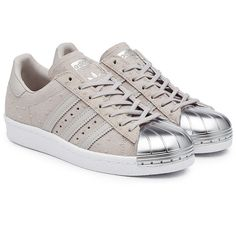 Adidas Originals Superstar 80s Suede Sneakers (€83) ❤ liked on Polyvore featuring shoes, sneakers, adidas, grey, 80s sneakers, 1980s shoes, polish shoes, grey suede shoes and 80s shoes