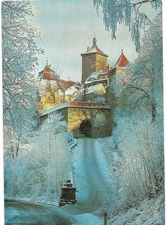 Winter in Rothenburg ob der Tauber Kobolzeller Tower Places Around The World, The Places Youll Go, Places To See, Around The Worlds, Rothenburg Ob Der Tauber, Germany Castles, Neuschwanstein Castle, Famous Castles, Winter Scenes