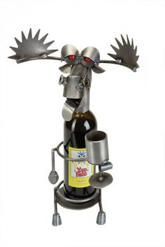 Drinking Moose Wine Caddy - Yardbirds are metal Critters made from overrun, discontinued, rejected, and scrap materials.  Represented at Human Art Gallery in Ojai, CA.