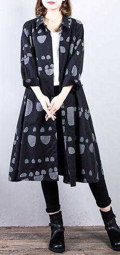 03e911828d1 Top quality black cotton coat plus size prints cardigans 2018 lapel collar  autumn coat
