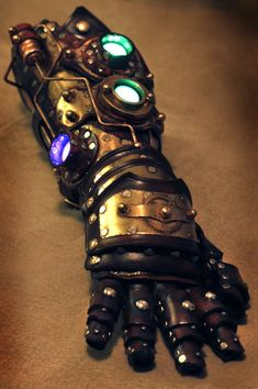 Awesome steampunck gauntlet. Good example of step by step photos here at SkinzNhydez Steampunk Steam-Tec https://www.facebook.com/SkinzNhydezLeather/photos_albums