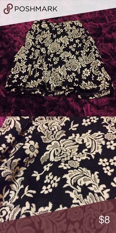 Black and white skater skirt  Black and white skater skirt with floral pattern; only worn once; in good condition ✨ Charlotte Russe Skirts